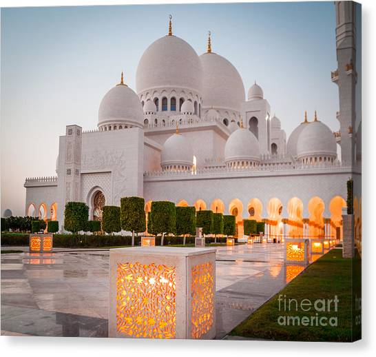 Worship Canvas Print - Abu Dhabi Sheikh Zayed White Mosque. Uae by Tatyana Vyc