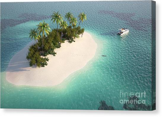 Yacht Canvas Print - Aerial View Of A Caribbean Desert by Pablo Scapinachis