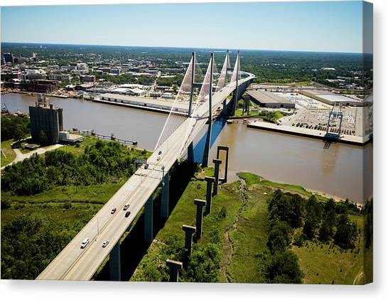 Canvas Print - Aerial View Of Talmadge Bridge by Panoramic Images