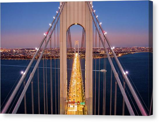 Aerial View Of Verrazzano Narrows Bridge Canvas Print