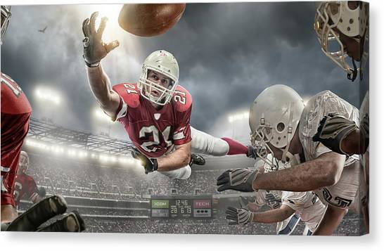 American Football Action Canvas Print by Peepo