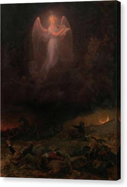 Honor Canvas Print - Angel On The Battlefield by Emanuel Gottleib Leutze
