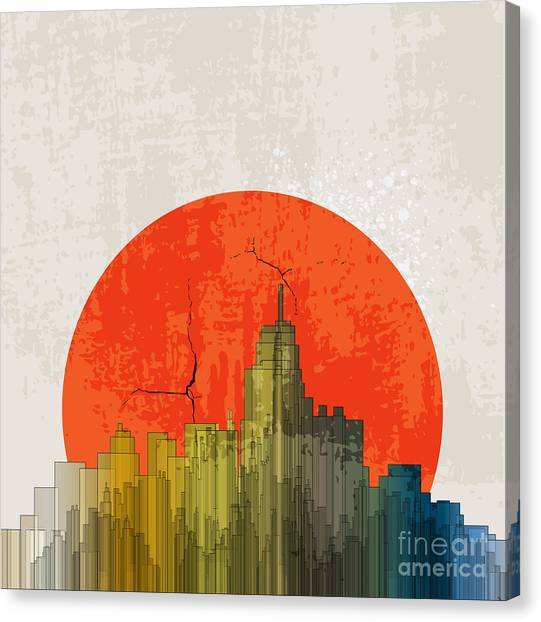 Shadow Canvas Print - Apocalyptic Retro Poster. Sunset by File404