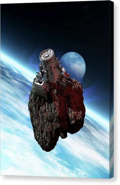Asteroid Mining, Artwork Canvas Print by Victor Habbick Visions