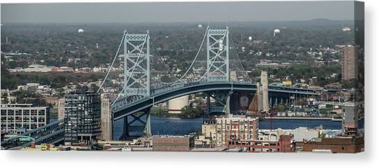 Canvas Print featuring the photograph Benjamin Franklin Bridge Panorama by Bill Cannon