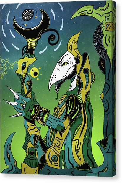 Canvas Print featuring the digital art Birdman by Sotuland Art