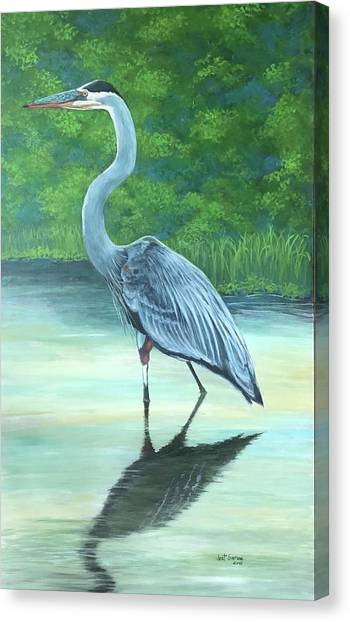 Canvas Print featuring the painting Blue Heron by Jeanette Jarmon