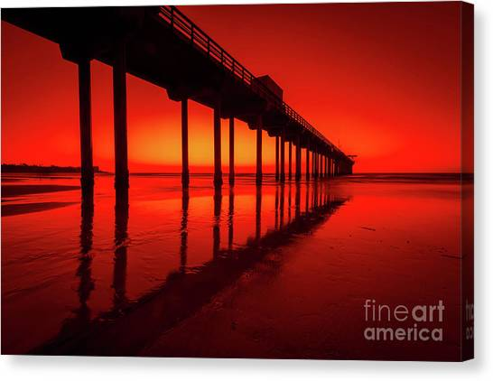 Scripps Pier Canvas Print - California Dreaming by Edward Fielding