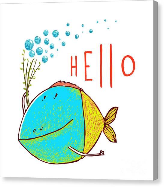 Humorous Canvas Print - Cartoon Funny Fish Greeting Card Design by Popmarleo