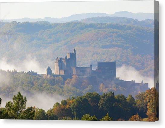 Chateau Beynac In The Mist Canvas Print