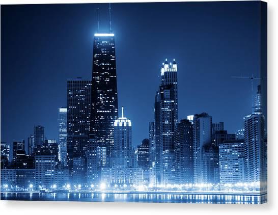 Chicago Skyline By Night Canvas Print