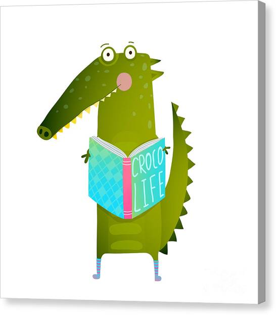 Student Canvas Print - Childish Student Crocodile Reading Book by Popmarleo