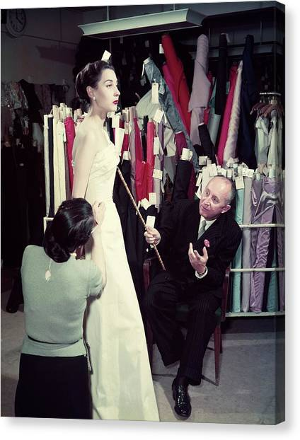 Christian Dior In France In The 1950s - Canvas Print by Kammerman