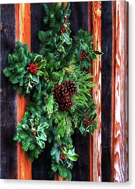Canvas Print featuring the photograph Christmas Wreath 20474 by Jerry Sodorff