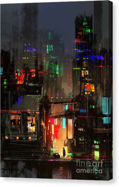 Sheet Canvas Print - Cityscape Digital Painting Of Building by Tithi Luadthong