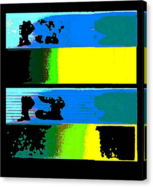 Canvas Print featuring the digital art Cityscapel 4000 Original Fine Art Painting Digital Abstract Triptych by G Linsenmayer