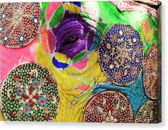Close-up Of A Painted Elephant Canvas Print by Exotica.im