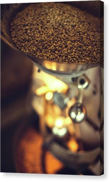 Coffee Roaster In Action Canvas Print