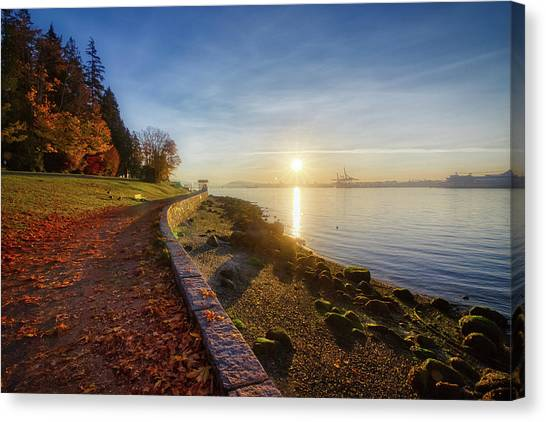 Colorful Autumn Sunrise At Stanley Park Canvas Print