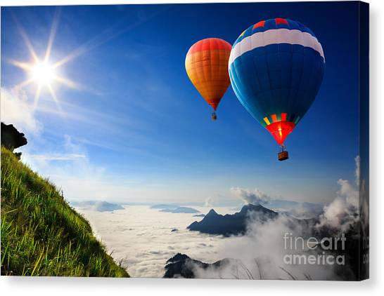 Basket Canvas Print - Colorful Hot-air Balloons Flying Over by Patrick Foto