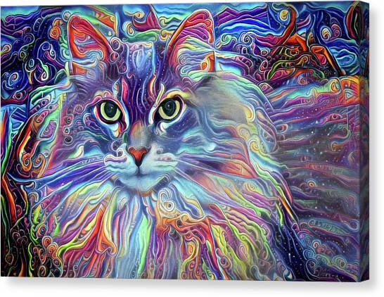 Colorful Long Haired Cat Art Canvas Print
