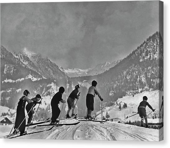 Compulsory Skiing Canvas Print