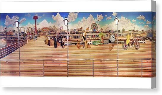 Coney Island Boardwalk Towel Version Canvas Print