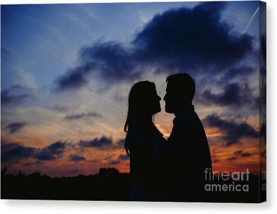 Couple With Cloud Sky Backlight Canvas Print