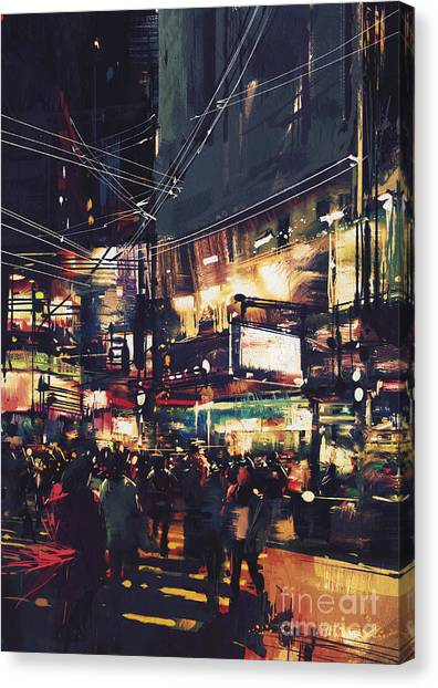 Acrylic Canvas Print - Crowds Of People At A Busy Crossing In by Tithi Luadthong