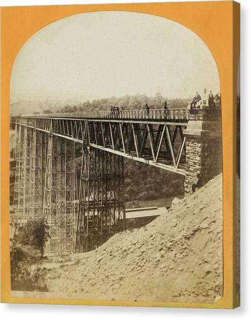 Crumlin Viaduct Canvas Print by London Stereoscopic Company
