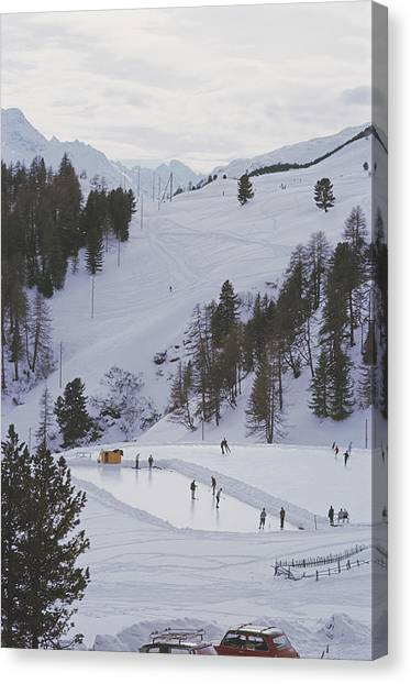 Curling At St. Moritz Canvas Print by Slim Aarons