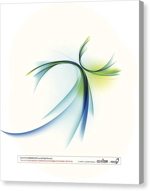 Curved Shape On White Background Canvas Print by Eastnine Inc.