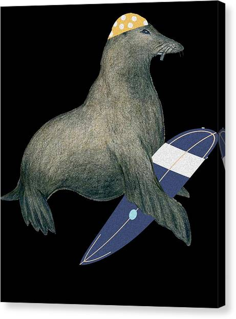 Surfboard Canvas Print - Cute Funny Surfing Seal For Seal Lover by The Perfect Presents
