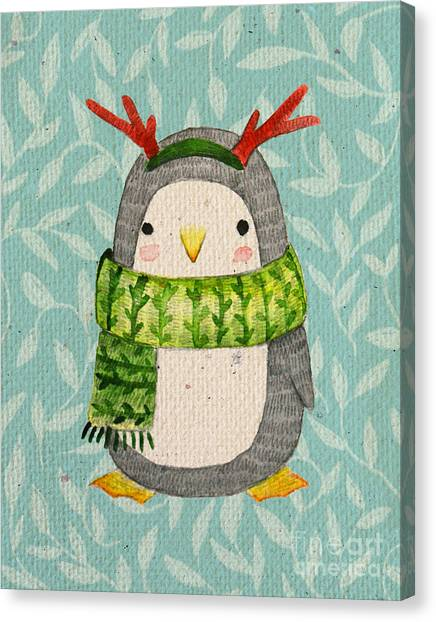 Winter Fun Canvas Print - Cute Penguin In Scarf. Watercolor by Maria Sem