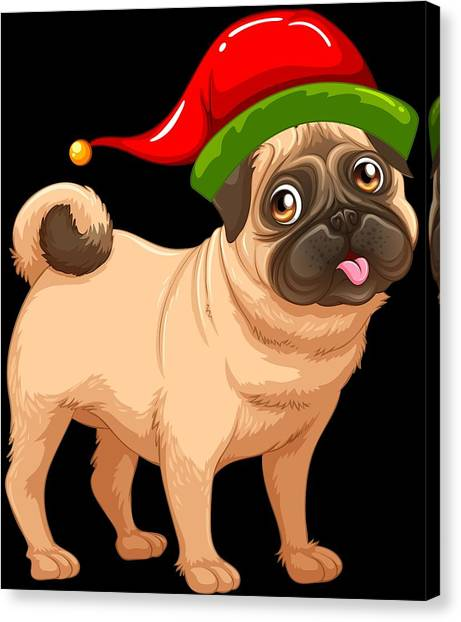 715a4f6b8cc00 Pug Dog Canvas Print - Cute Pug In A Christmas Elf Hat by Louise Lench