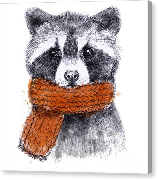 T Shirts Canvas Print - Cute Raccoon With Scarf , Sketchy by Maria Sem
