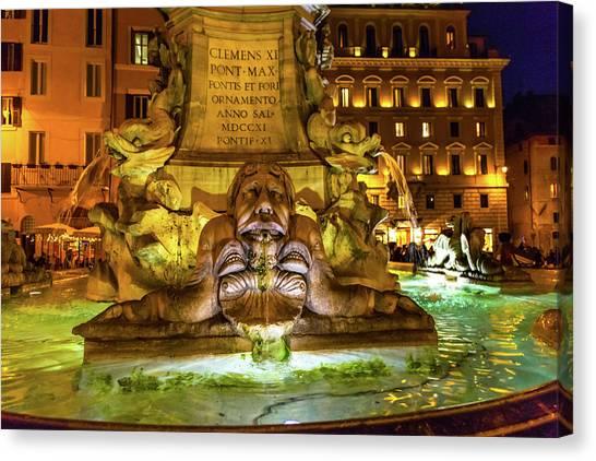 Della Porta Fountain, Piazza Della Canvas Print by William Perry