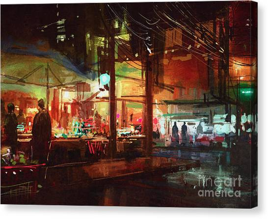 Mall Canvas Print - Digital Painting Of People Walking In by Tithi Luadthong