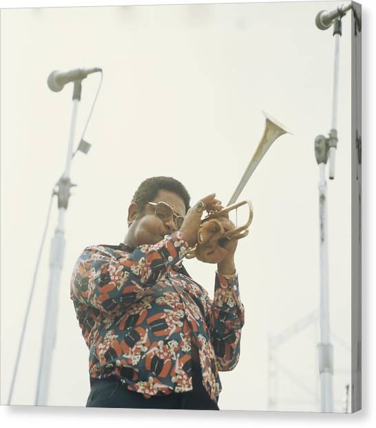 Dizzy Gillespie Performs At Newport Canvas Print by David Redfern