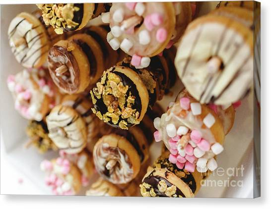 Donuts Of Different Flavors, To Put On An Unhealthy Diet Canvas Print