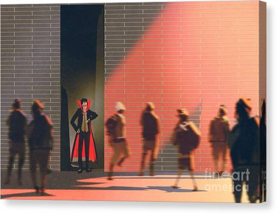Late Canvas Print - Dracula Hiding In Narrow Alley From by Tithi Luadthong