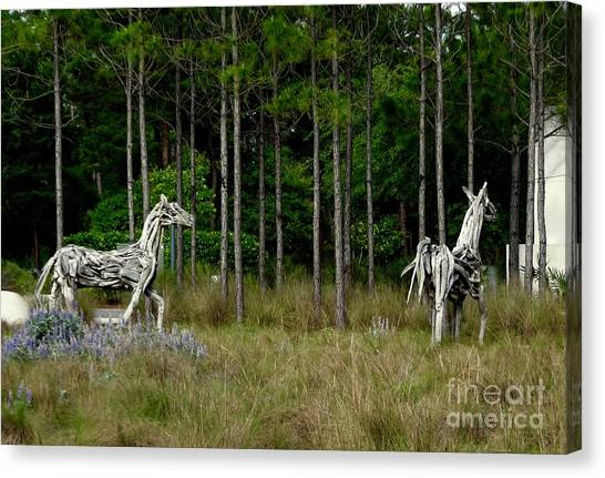 Canvas Print - Driftwood Horses by Megan Cohen