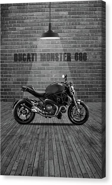 Ducati Canvas Print - Ducati Monster 696 Red Wall by Smart Aviation
