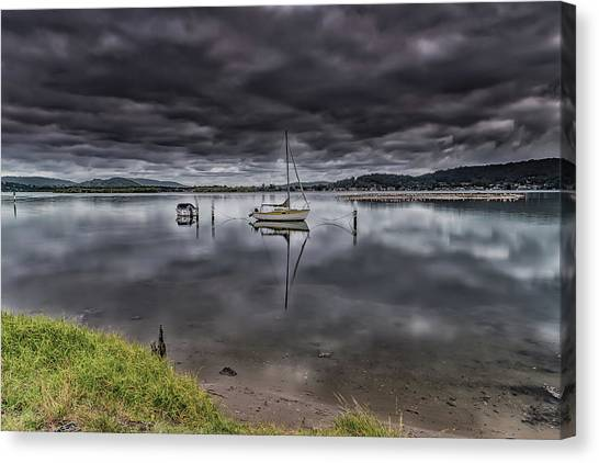 Early Morning Clouds And Reflections On The Bay Canvas Print
