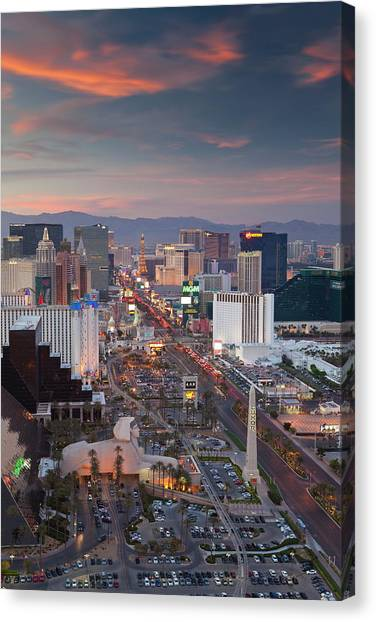 Elevated View Of The Hotels And Casinos Canvas Print