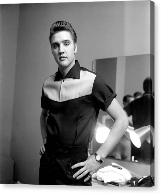 Elvis Presley On Milton Berle Canvas Print by Michael Ochs Archives