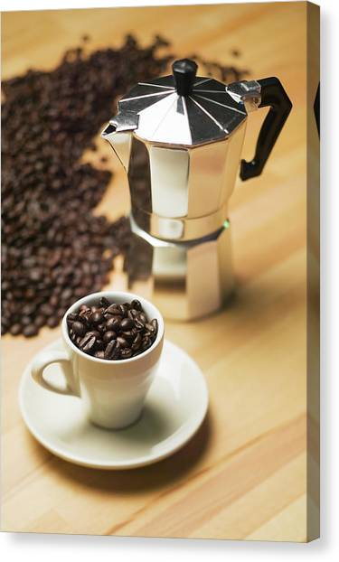 Espresso Coffee Maker And Coffee Beans Canvas Print