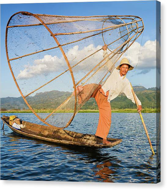 Fisherman On Inle Lake, Myanmar Canvas Print