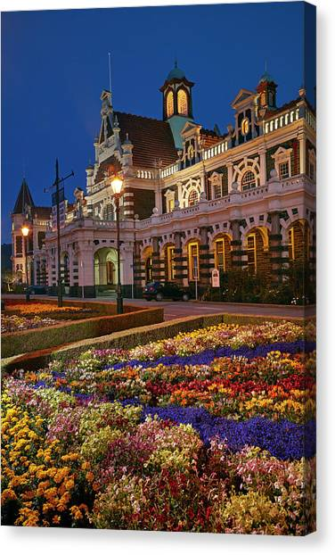 Flower Garden And Historic Railway Canvas Print by David Wall