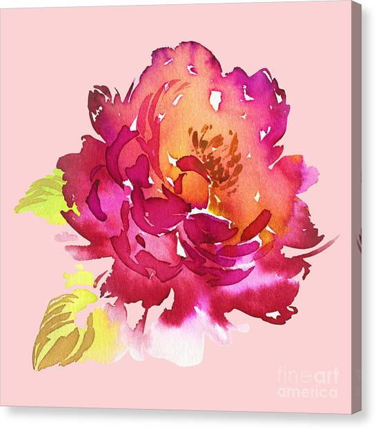 Wedding Bouquet Canvas Print - Flowers Watercolor Illustration. Manual by Karma3